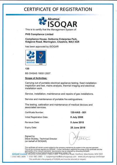 Image of ISO 18001 Certificate